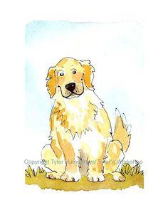 Golden Retriever Dog Print- Watercolor Dog Illustration 'Good Boy'.