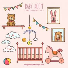 Hand-drawn room with toys for baby Premium Vector
