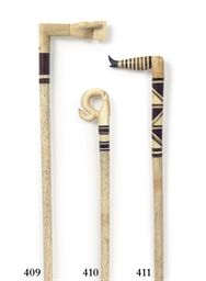 AN IVORY AND HORN 'NAUGHTY STOCKING LEG' WALKING STICK  NANTUCKET, 19TH CENTURYhttp://www.christies.com/