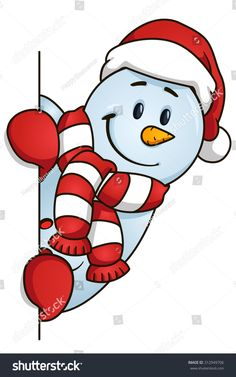 Funny snowman hiding behind the blank. Vector illustration. Christmas Theme.