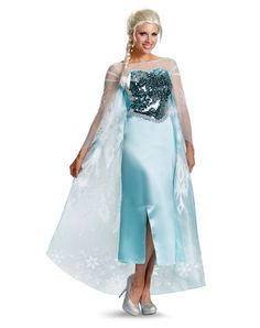 Frozen Elsa Adult Womens Costume at Spirit Halloween - Everyone will freeze in their tracks as you stun in the Officially Licensed Frozen Elsa Adult Women's Costume. Embrace your inner child and Let It Go in this icy blue dress with sequin bodice and attached chiffon cape speckled with snowflakes. Make it a Frozen Halloween for $49.99