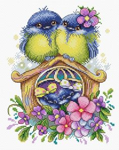 New Modern Counted Cross Stitch Hand Embroidery Kit Happy Family Tit Titmouse Russian Manufacture, Gift Idea - - Needlepoint Patterns, Embroidery Patterns Free, Embroidery Kits, Cross Stitch Embroidery, Just Cross Stitch, Modern Cross Stitch, Cross Stitch Designs, Cross Stitch Patterns, Broderie Primitive
