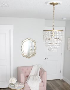 Blush And Gold Glam Office Reveal #blushpink #office #officedesign #officedecor #glam #chandelier