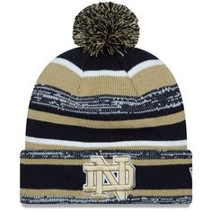 New Era Cap Collegiate Logo Knit Beanie (150 DKK) ❤ liked on Polyvore featuring accessories, hats, notre dame fighting irish, new era cap, knit beanie caps, pom pom beanie hat, new era hats and logo hats
