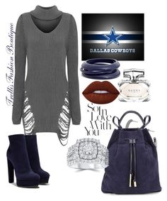 """""""Dallas Cowboys Fashion"""" by trellinthecity on Polyvore featuring WearAll, Casadei, Argento Vivo, ZENZii, Lime Crime, Halston Heritage, Gucci, fashionista and cowboys"""