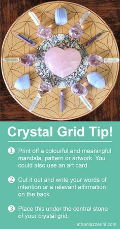 Crystal Grid Tip: Use a mandala for your crystal grids for manifesting, healing and love. Can you have more than one crystal grid and how many crystal grids can you have active at the same time? What are the rules of multiple crystal grids? Crystal Healing Stones, Crystal Magic, Crystal Grid, Clear Quartz Crystal, Crystal Mandala, Crystal Place, Crystal Uses, Crystal Altar, Crystal Garden