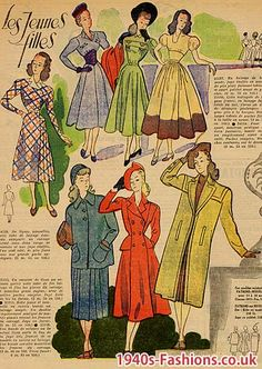 Styles for Young Women in 1948, Skirts, Jackets and Hats.  Clarice Kaye.