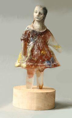 Christina Bothwell , Butterfly Doll - cast glass, raku clay, oil paint and wood, 16 x 8 x 7 inches Broken Doll, Cast Glass, Small Sculptures, Creepy Dolls, Stained Glass Art, Ceramic Artists, Medium Art, Artist Art, Vintage Dolls