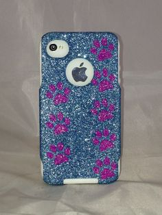 iPhone 4/4S Otterbox Case Sparkly Glitter Custom Design for Apple iPhone 4/4S Ocean Blue Glitter Hot Pink Paw Prints. $49.99, via Etsy.