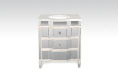 """DD4525 30"""" mirrored bathroom vanity with white trim and natural white calacatta marble."""