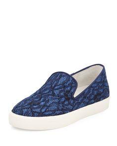 Ash Illusion Floral-Lace Skate Sneaker, Indigo, Women's, Size: 11