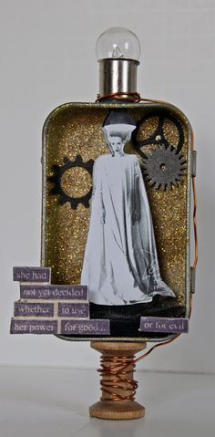 Bride of Frankenstein Altered Altoid Tin Assemblage Mixed Media