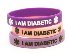 Silicone Diabetes Medical Alert Bracelets, Lot of 3, Light and Dark Purple and Pastel Pink $8.99 #bestseller