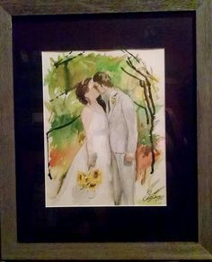 """Sunflower wedding 11×14"""" watercolour painted in August 2015."""
