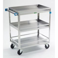 Lakeside Manufacturing Stainless steel 3 shelves guard rail utility cart, 500 lb capacity with casters. How To Clean Furniture, Steel Furniture, Table Furniture, Stainless Steel Angle, Utility Cart, Furniture Manufacturers, Kitchen Cart, Kitchen Tools, Shelving