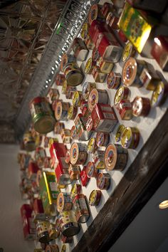 Italian cans on the wall with tin ceilings. Salito's Crab House & Prime Rib 1200 Bridgeway, Sausalito, CA Prime Rib Restaurant, Tin Ceilings, Crab House, Twinkle Lights, Nespresso, Canning, Places, Wall, Lugares
