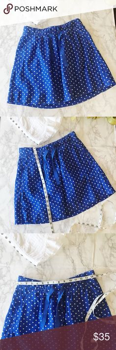 J. Crew Blue White Polka Dot Cotton Skirt J. Crew Blue White Polka Dot Cotton Skirt with pockets!   Super cute skirt! Beautifully maintained! Tie at waist.    This item has been lovingly inspected for signs of wear. All signs of wear will be shown in pictures or detailed in description. Please feel free to ask any questions before purchasing.   Offers are always welcomed! Bundle to save more! J. Crew Skirts