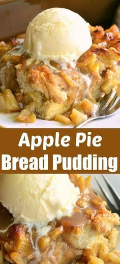 Amazing apple pie bread pudding wonderful warm apple treat better than apple pie! comforting bread pudding made with apple pie filling serve with ice cream for heavenly treat apple dessert falldessert applepie breadpudding apple crisp shortbread bars Apple Recipes, Sweet Recipes, Bread Recipes, Best Apple Desserts, Apple Deserts, Lasagna Recipes, Apple Dessert Recipes, Rib Recipes, Bread Pudding With Apples
