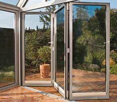 bifolding doors Aluminium Windows And Doors, Glass And Aluminium, Underground Homes, Sliding Glass Door, Glass Doors, Folding Doors, Conservatory, Outdoor Structures, Interior Design