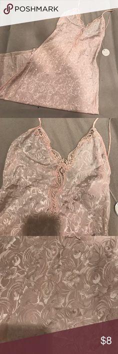 NWT Val Mode Long Lingerie Dress Light pink with floral print long lingerie dress. Never worn! val mode Intimates & Sleepwear Chemises & Slips