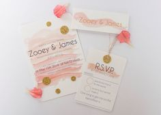 Watercolour wedding invitation peach pink coral by normadorothy, £1.50