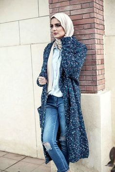 navy long cardigan hijab style