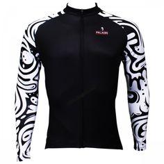 Wave Patter Sleeves Black Cycling Jerseys Long Sleeve Men's Bike Jersey image 1