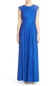 Free shipping and returns on Aidan by Aidan Mattox Short Sleeve Lace Gown at…