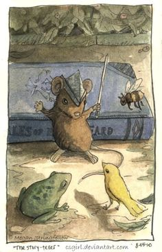 The Story Teller, 2010 © Megan Stringfellow Hamster, Children's Book Illustration, Book Illustrations, Art Graphique, Whimsical Art, Oeuvre D'art, Childrens Books, Book Art, Artwork
