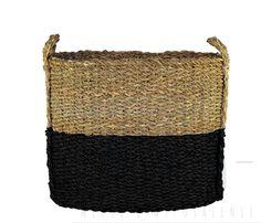 Czarny, owalny kosz z trawy morskiej. Kosz idealny do przechowywania różnego rodzaju bibelotów,