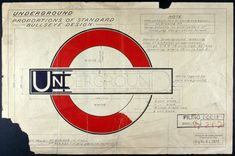 "London Underground CI, Part of a drawing by Edward Johnston of the iconic London Underground roundel and bar, known as the ""bullseye design"", that forms part of the design gallery at the newly opened London Transport Museum Web Design, Icon Design, Logo Design, Symbol Design, Type Design, Retro Design, Mascot Design, Brand Design, London Underground"