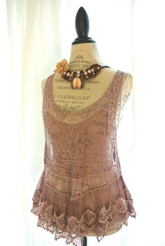 Dusty purple french lace apron tank top by TrueRebelClothing, $52.00