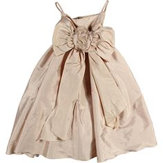 $140. This dress comes in champagne and light blue. If you have chair covers with bows, this could be a great match