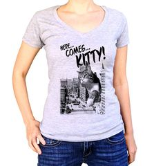 Here Comes Kitty T-Shirt - Funny Giant Cat TShirt - Mens and Ladies Sizes Small-3X - (Please see SIZING CHART in Item Details)