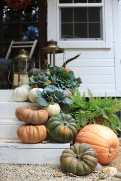 Get the Look - Autumn Ambiance - French Country Cottage Autumn Decorating, Pumpkin Decorating, Porch Decorating, Natural Decorating, Natural Fall Decor, Cottage Decorating, Decorating Ideas, Fall Home Decor, Autumn Home