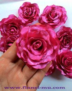 cara membuat blomming rose dari kain satin