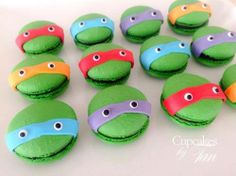 TMNT Green macarons with fondant masks