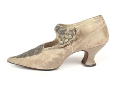 A delicate shoe for Eliza's night on the town (Exquisite Silk Beaded Shoes with scalloped 4 button strap, 1890-95)