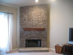 Indoor stack stone fireplace. provided by jackpot construction Covington 30014