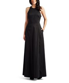 Take a look at this Black Cutout-Back Sleeveless Gown today!