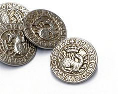 "4 Vintage Shank Buttons - Francisc DG Francor Rex - Large Silver Metal Buttons - dragon and crown - diameter 3 cm / 1 3/16"""