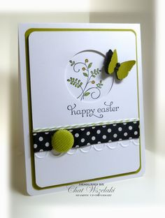 Stamps:  Delightful Dozen, Sweet Summer  Paper:  Whisper White, Kiwi Kiss  Ink: Basic Black, markers  Accessories:  polka dot ribbon, corduroy button, pearls, twine  Tools:  Adorning Accents textured EF, circle punch, butterfly punch