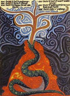 """The Serpent and the Tree  The Red Book, C.J. Jung  """"The Red Book, also known as Liber Novus (Latin for A New Book), is a 205-page manuscript written and illustrated by Swiss psychologist Carl Gustav Jung between approximately 1914 and 1930, which was not published or shown to the public until 2009. Until 2001, his heirs denied scholars access to the book, which he began after a falling-out with Sigmund Freud in 1913."""
