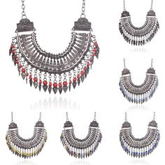 Boho Tribal Beads Necklace Chain Collar Chunky Flower Tassel Pendant Statement #Unbranded #Chain #PartyGiftWeddingCasualCocktail
