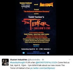 https://twitter.com/illusionindinc/status/849330468248047617 .. Folks who are bringing us #TheTerrorOfHallowsEve .. tweet 4-4-2017 about some of the actors going to #Monsterpalooza in Pasadena, CA on 4-8-2017.. ( #ChristianKane in movie but not attending this event)