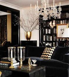 black, gold and white interior design & decor ideas - living room luxury homes, modern interior design, interior design inspiration . Visit www. Decoration Inspiration, Interior Design Inspiration, Home Interior Design, Interior Decorating, Gold Interior, Decor Ideas, Decorating Ideas, Interior Modern, Luxury Interior