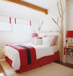 Red + white bedroom - I'm doing this next year in my spare bedroom.