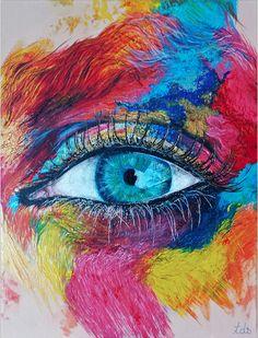 """Tracy De Sousa (©2014 artmajeur.com/tracy-de-sousa) Peinture à l'acrylique sur chassis entoilé en lin, de format 35x27cm (5F) et d'épaisseur 2cm. Titré: """"Make up eye"""" il n'existe qu'un seul exemplaire, fais main, signé et vernis. Certificat d'authenticité à l'appuie. Si vous souhaitez voir l'avancé de la toile: http://earswhite.blogspot.fr/2014/05/blog-post.html"""