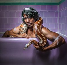The irrepressible Wesley John with his bath buddy, Spartacus, a blood python. Fantasy Series, Fantasy Books, Spartacus, Bubble Bath, Ancient Egypt, Snakes, Super Powers, Python, Blood