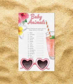 Aloha Baby Shower Games Baby Animal Match Girl Boy Pineapple Luau Hawaii Hawaiian Tropical Printable Digital File Instant Download 0024A by TppCardS #tppcards #printable #invitations